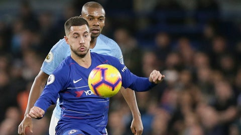 <p>               Chelsea's Eden Hazard, left, protects the Ball against Manchester City's Fernandinho during the English Premier League soccer match between Chelsea and Manchester City at Stamford Bridge in London, Saturday Dec. 8, 2018. (AP Photo/Tim Ireland)             </p>