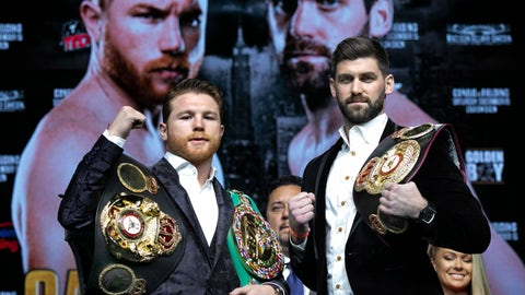 <p>               FILE - In this Oct. 17, 2018, file photo, boxers Canelo Alvarez, left, and Rocky Fielding pose for photos at Madison Square Garden in New York. In an odd way, there is more pressure on Canelo Alvarez when he fights Saturday night against unheralded Rocky Fielding than there was in his two matchups with Gennady Golovkin. A loss to the WBA super middleweight champion not only could taint his decision over Golovkin earlier this year, it could significantly muddle the future for the Mexican star. (AP Photo/Richard Drew, File)             </p>