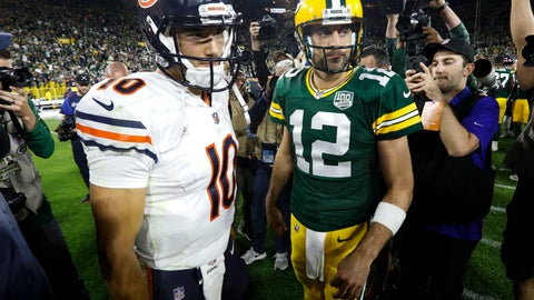 <p>               FILE - In this Sept. 9, 2018, file photo, Chicago Bears' Mitchell Trubisky, left, talks to Green Bay Packers' Aaron Rodgers after the Packers defeated the Bears 24-23 in an NFL football game in Green Bay, Wis. Clinch the NFC North championship and beat a division rival to do it? The Chicago Bears couldn't have asked for a sweeter scenario. That's exactly the opportunity they're staring at when they host Aaron Rodgers and the fading Green Bay Packers on Sunday afternoon. (AP Photo/Mike Roemer, File)             </p>