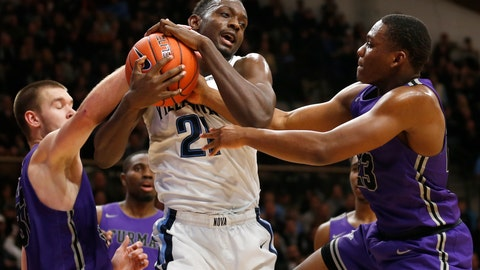 <p>               FILE - In this Saturday, Nov. 17, 2018, file photo, Villanova forward Dhamir Cosby-Roundtree (21) and Furman forward Matt Rafferty (32) and guard Jordan Lyons (23) fight for a rebound during the second half of an NCAA college basketball game, in Villanova, Pa. Furman coach Bob Richey wants his players to savor the program's first appearance in the AP Top 25 poll yet also remember how much work it took to get there. (AP Photo/Laurence Kesterson, File)             </p>