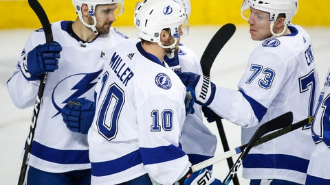 <p>               Tampa Bay Lightning's J.T. Miller (10) celebrates his shootout goal with teammates during an NHL hockey game against the Calgary Flames on Thursday, Dec. 20, 2018, in Calgary, Alberta. (Jeff McIntosh/the Canadian Press via AP)             </p>