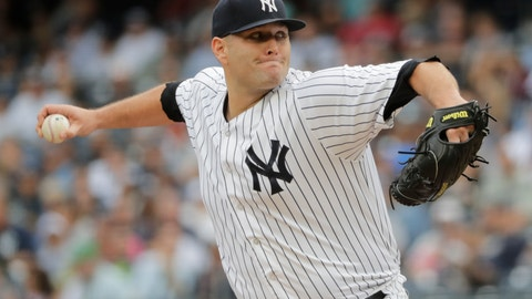 <p>               FILE - In this Sept. 22, 2018, file photo, New York Yankees' Lance Lynn delivers a pitch during the first inning of a baseball game against the Baltimore Orioles in New York. The free agent right-hander and Texas Rangers have reached agreement on a $30 million, three-year contract during the winter meetings, a person with direct knowledge of the agreement said Thursday, Dec. 13, 2018. The deal is pending a physical, the person said, speaking on condition of anonymity because the contract isn't complete. (AP Photo/Frank Franklin II, File)             </p>