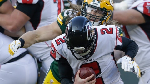 <p>               Green Bay Packers' Clay Matthews sacks Atlanta Falcons' Matt Ryan during the second half of an NFL football game Sunday, Dec. 9, 2018, in Green Bay, Wis. (AP Photo/Jeffrey Phelps)             </p>
