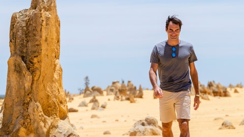 <p>               Swiss tennis player Roger Federer is seen during a media event at the Pinnacles in Nambung National Park, Western Australia Thursday, Dec. 27, 2018. Federer is scheduled to play in the Hopman Cup in Perth from this Saturday, Dec. 29. (Richard Wainwright/AAP Image via AP)             </p>
