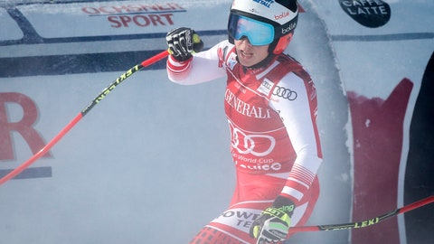 <p>               Austria's Nicole Schmidhofer reacts in the finish area following her run in the women's World Cup downhill ski race  in Lake Louise, Alberta on Saturday, Dec. 1, 2018. (Jeff McIntosh/The Canadian Press via AP)             </p>