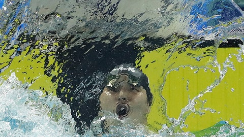<p>               Japan's Daiya Seto celebrates after breaking the world record during the men's 200m butterfly finals at the 14th FINA World Swimming Championships in Hangzhou, China on Tuesday Dec. 11, 2018. Seto set a new world record with a time of 1:48.24. (AP Photo/Ng Han Guan)             </p>
