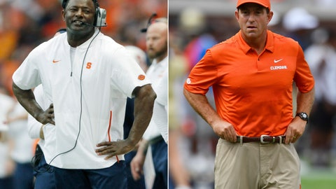 <p>               FILE - At left, in a Sept. 15, 2018, file photo, Syracuse head coach Dino Babers reacts late in the fourth quarter of an NCAA college football game against Florida State in Syracuse, N.Y. At right, in a Sept. 22, 2018, file photo, Clemson head coach Dabo Swinney watches teams warm up before the first half of an NCAA college football game against Georgia Tech, in Atlanta. Babers and Swinney share the coach of the year award as the Associated Press All-Atlantic Coast Conference teams and individual awards ewre released Tuesday, Dec. 4, 2018. (AP Photo/File)             </p>
