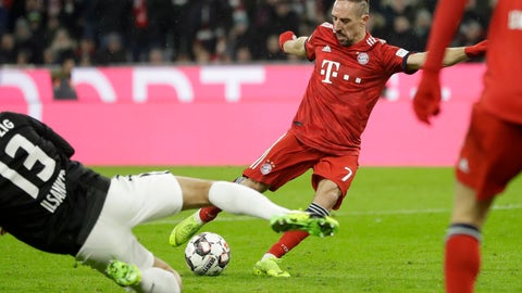 <p>               Bayern's Franck Ribery scores his side's opening goal during the German Bundesliga soccer match between FC Bayern Munich and RB Leipzig in Munich, Germany, Wednesday, Dec. 19, 2018. (AP Photo/Matthias Schrader)             </p>