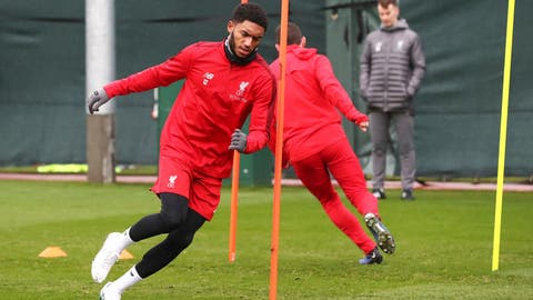<p>               Liverpool's Joe Gomez attends a training session at Melwood Training Centre, Liverpool, England, Tuesday Nov. 27, 2018. (Martin Rickett/PA via AP)             </p>