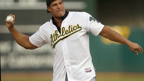 "<p>               FILE - In this Sept. 3, 2016, file photo, former Oakland Athletics player Jose Canseco throws out the ceremonial first pitch prior to a baseball game against the Boston Red Sox in Oakland, Calif. Canseco, a former major league slugger, has made his pitch for a big job at the White House, tweeting Wednesday, Dec. 12, 2018, to U.S. President Donald Trump: ""u need a bash brother for Chief if (sic) Staff."" (AP Photo/Ben Margot, File)             </p>"