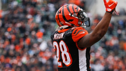 <p>               Cincinnati Bengals running back Joe Mixon celebrates his touchdown in the first half of an NFL football game against the Oakland Raiders, Sunday, Dec. 16, 2018, in Cincinnati. (AP Photo/Frank Victores)             </p>