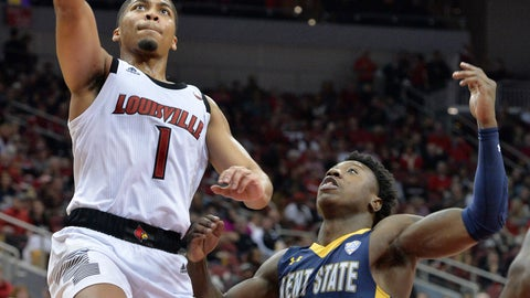 <p>               Louisville guard Christen Cunningham (1) goes in for a layup past the defense of Kent State guard Antonio Williams (4) during the second half of an NCAA college basketball game in Louisville, Ky., Saturday, Dec. 15, 2018. Louisville won 83-70. (AP Photo/Timothy D. Easley)             </p>