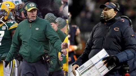 <p>               FILE - At left, in a Dec. 9, 2018, file photo, Green Bay Packers head coach Joe Philbin is shown on the sidelines during the first half of an NFL football game against the Atlanta Falcons, in Green Bay, Wis. At right, also in a Dec. 9, 2018, file photo, Chicago Bears head coach Matt Nagy watches the scoreboard during the first half of an NFL football game against the Los Angeles Rams, in Chicago. A win over the Packers (5-7-1) would clinch the division for the Bears (9-4). So would a loss by Minnesota to Miami. And ties by both the Bears and the Vikings would do the trick, too. (AP Photo/File)             </p>