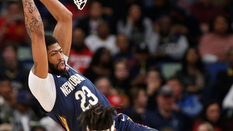 <p>               New Orleans Pelicans forward Anthony Davis (23) scores a basket against the Memphis Grizzlies in the first half of an NBA basketball game in New Orleans, Friday, Dec. 7, 2018. (AP Photo/Tyler Kaufman)             </p>
