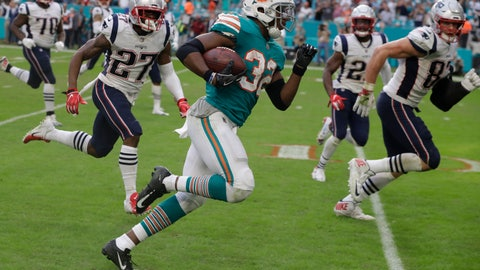 <p>               FILE - In this Dec. 9, 2018, file photo, Miami Dolphins running back Kenyan Drake (32) runs for a touchdown during the second half of an NFL football game against the New England Patriots, in Miami Gardens, Fla. The Miami Dolphins are trying to move past the euphoria of their last-play victory over division rival New England and keep their postseason momentum alive at Minnesota. (AP Photo/Lynne Sladky, File)             </p>