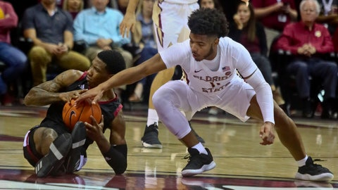 <p>               Troy guard BJ Miller (11) loses the ball to Florida State guard David Nichols (11) in the first half of an NCAA college basketball game in Tallahassee, Fla., Monday, Dec. 3, 2018. (AP Photo/Phil Sears)             </p>