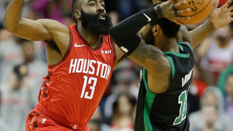 <p>               Houston Rockets guard James Harden (13) applies defensive pressure against Boston Celtics guard Kyrie Irving during the first half of an NBA basketball game, Thursday, Dec. 27, 2018, in Houston. (AP Photo/Eric Christian Smith)             </p>