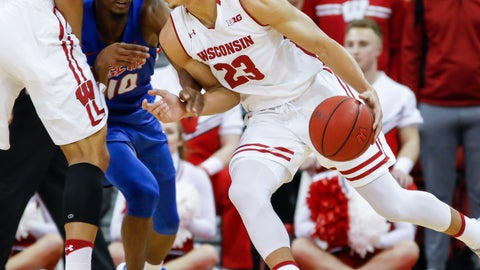 <p>               Wisconsin's Kobe King (23) drives against Savannah State's Adam Saeed (10) during the first half of an NCAA college basketball game Thursday, Dec. 13, 2018, in Madison, Wis. (AP Photo/Andy Manis)             </p>