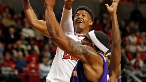 <p>               Texas Tech's Jarrett Culver (23) shoots the ball over Northwestern State's Ishmael Lane (20) during the first half of an NCAA college basketball game, Wednesday, Dec. 12, 2018, in Lubbock, Texas. (AP Photo/Brad Tollefson)             </p>