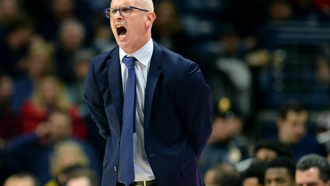 <p>               UConn head coach Dan Hurley yells from the sideline during the second half of an NCAA college basketball game against UMass-Lowell, Tuesday, Nov. 27, 2018, in Storrs, Conn. (AP Photo/Stephen Dunn)             </p>