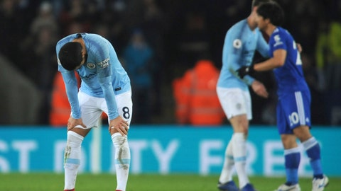 <p>               Manchester City's Ilkay Gundogan reacts after the English Premier League soccer match between Leicester City and Manchester City at the King Power Stadium in Leicester, England, Wednesday, Dec. 26, 2018. (AP Photo/Rui Vieira)             </p>