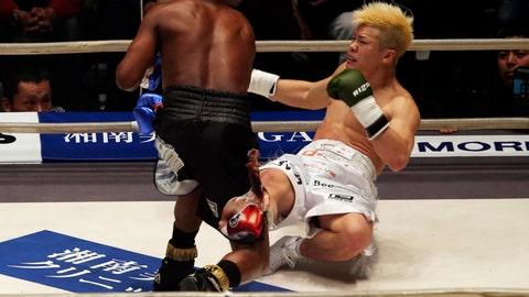 <p>               Japanese kickboxer Tenshin Nasukawa lies on the mat after being knocked out by Floyd Mayweather Jr. during first round of their three-round exhibition match on New Year's Eve, at Saitama Super Arena in Saitama, north of Tokyo, Monday, Dec. 31, 2018. (AP Photo/Koji Sasahara)             </p>