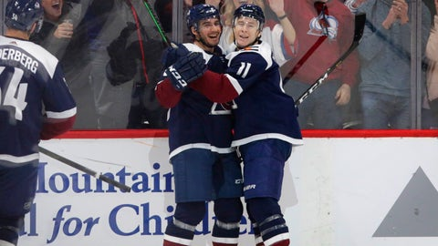 <p>               Colorado Avalanche left wing Matt Nieto (83) and Avalanche Matt Calvert (11) celebrate Calvert's goal agains the Dallas Stars in the first period of an NHL hockey game Saturday, Dec.. 15, 2018, in Denver. (AP Photo/Joe Mahoney)             </p>