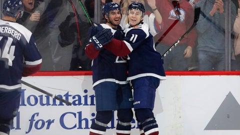 <p>               Colorado Avalanche left wing Matt Nieto (83) and Avalanche Matt Calvert (11) celebrate Calvert's goal agains the Dallas Stars in the first period of an NHL hockey game Saturday, Dec.. 15, 2018, in Denver. (AP Photo/Joe Mahoney)             </p>