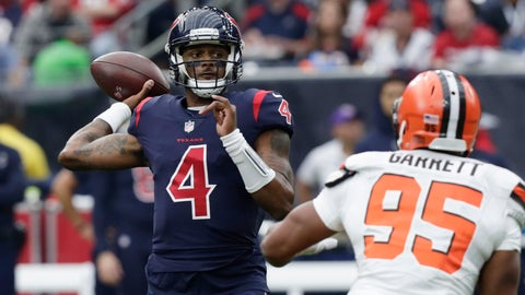 <p>               Houston Texans quarterback Deshaun Watson (4) throws against the Cleveland Browns during the first half of an NFL football game, Sunday, Dec. 2, 2018, in Houston. (AP Photo/Sam Craft)             </p>