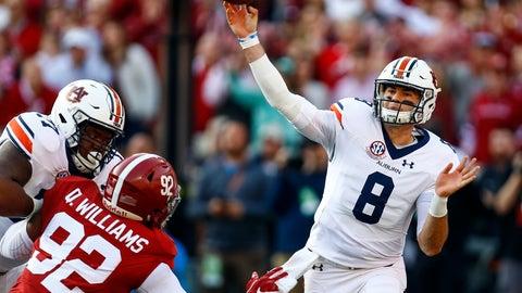 <p>               Auburn quarterback Jarrett Stidham (8) throws a pass during the first half of an NCAA college football game against Alabama, Saturday, Nov. 24, 2018, in Tuscaloosa, Ala. (AP Photo/Butch Dill)             </p>