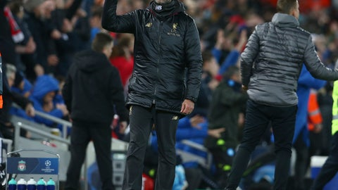 <p>               Liverpool coach Juergen Klopp gestures during the Champions League Group C soccer match between Liverpool and Napoli at Anfield stadium in Liverpool, England, Tuesday, Dec. 11, 2018.(AP Photo/Dave Thompson)             </p>