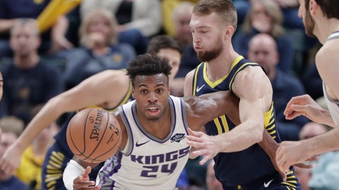 <p>               Indiana Pacers forward Domantas Sabonis (11) defends Sacramento Kings guard Buddy Hield (24) during the second half of an NBA basketball game in Indianapolis, Saturday, Dec. 8, 2018. The Pacers defeated the Kings 107-97. (AP Photo/Michael Conroy)             </p>