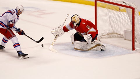 <p>               New York Rangers center Kevin Hayes left, scores during a shootout against Florida Panthers goaltender Roberto Luongo, right, at an NHL hockey game on Saturday, Dec. 8, 2018, in Sunrise, Fla. (AP Photo/Brynn Anderson)             </p>