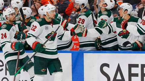 Dec 7, 2018; Edmonton, Alberta, CAN; Minnesota Wild forward Nine Niederreiter (22) celebrates his third period goal against the Edmonton Oilers at Rogers Place. Mandatory Credit: Perry Nelson-USA TODAY Sports