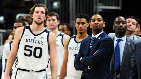 Dec 15, 2018; Indianapolis, IN, USA; Butler Bulldogs head coach LaVall Jordan and the rest of his team wait to shake hands after their game against the Indiana Hoosiers at Bankers Life Fieldhouse. Mandatory Credit: Thomas J. Russo-USA TODAY Sports