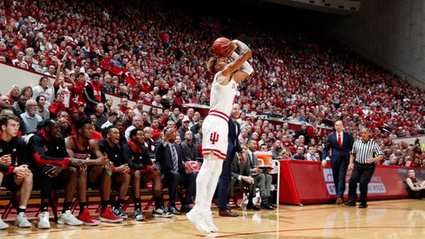Dec 8, 2018; Bloomington, IN, USA; Indiana Hoosiers guard Romeo Langford (0) takes a shot against the Louisville Cardinals during the first half at Assembly Hall. Mandatory Credit: Brian Spurlock-USA TODAY Sports