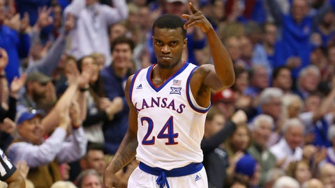 Dec 15, 2018; Lawrence, KS, USA; Kansas Jayhawks guard Lagerald Vick (24) celebrates after scoring against the Villanova Wildcats in the first half at Allen Fieldhouse. Mandatory Credit: Jay Biggerstaff-USA TODAY Sports