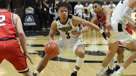 Dec 29, 2018; West Lafayette, IN, USA; Purdue Boilermakers guard Carsen Edwards (3) drives past Belmont Bruins guard Grayson Murphy (2) in the first half at Mackey Arena. Mandatory Credit: Sandra Dukes-USA TODAY Sport