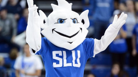 Saint Louis Billikens mascot, the Billiken, fall 2018.