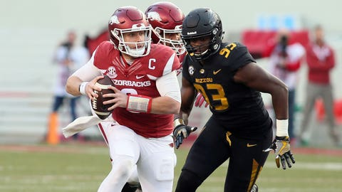 Nov 24, 2017; Fayetteville, AR, USA; Arkansas Razorbacks quarterback Austin Allen (8) is pressured by Missouri Tigers defensive lineman Tre Williams (93) at Donald W. Reynolds Razorback Stadium. Missouri won 48-45. Mandatory Credit: Nelson Chenault-USA TODAY Sports