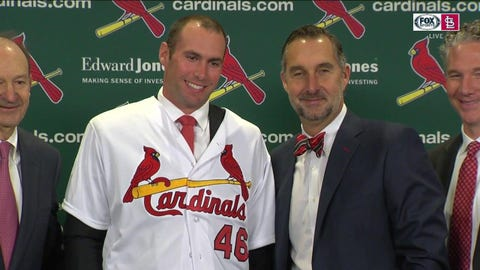 (From left): Bill DeWitt Jr., Paul Goldschmidt, John Mozeliak, Michael Girsch at Goldschmidt's introductory news conference, Dec. 7, 2018.