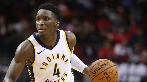 Nov 11, 2018; Houston, TX, USA; Indiana Pacers guard Victor Oladipo (4) dribbles the ball against the Houston Rockets in the second half at Toyota Center. Mandatory Credit: Thomas B. Shea-USA TODAY Sports