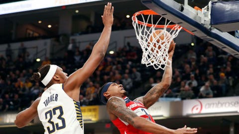 Dec 10, 2018; Indianapolis, IN, USA; Washington Wizards guard Bradley Beal (3) goes up for a shot against Indiana Pacers center Myles Turner (33) during the first quarter at Bankers Life Fieldhouse. Mandatory Credit: Brian Spurlock-USA TODAY Sports