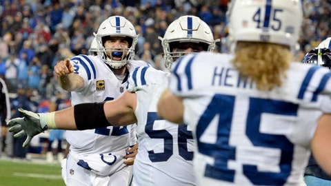 Indianapolis Colts quarterback Andrew Luck, left, runs to celebrate with tight end Ryan Hewitt (45) after they teamed up on a 1-yard touchdown pass against the Tennessee Titans in the second half of an NFL football game Sunday, Dec. 30, 2018, in Nashville, Tenn. (AP Photo/Mark Zaleski)