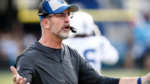 Dec 2, 2018; Jacksonville, FL, USA; Indianapolis Colts head coach Frank Reich argues his case to an official during the second half against the Jacksonville Jaguars at TIAA Bank Field. Mandatory Credit: Reinhold Matay-USA TODAY Sports