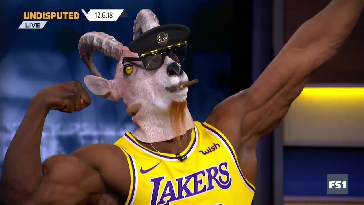 premium selection c8da0 dad88 Shannon Sharpe busted out the goat mask and LeBron jersey after the King's  big game for the Lakers