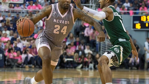 <p>               Nevada forward Jordan Caroline (24) drives past Colorado State guard Hyron Edwards (0) during the first half of an NCAA college basketball game in Reno, Nev., Wednesday, Jan. 23, 2019. (AP Photo/Tom R. Smedes)             </p>