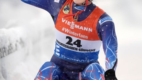 <p>               Summer Britcher of the US celebrates finishing second in the women's luge world cup in Schoenau at Koenigssee, Germany, Saturday, Jan.5, 2019. (Tobias Hase/dpa via AP)             </p>