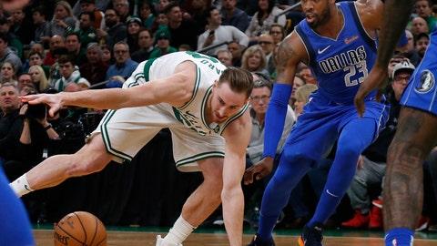 <p>               Boston Celtics forward Gordon Hayward (20) loses control of the ball next to Dallas Mavericks guard Wesley Matthews (23) during the first quarter of an NBA basketball game Friday, Jan. 4, 2019, in Boston. (AP Photo/Elise Amendola)             </p>
