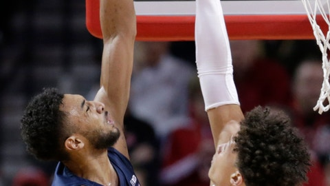 <p>               Nebraska's Isaiah Roby, right, blocks a shot by Penn State's Josh Reaves (23) during the first half of an NCAA college basketball game in Lincoln, Neb., Thursday, Jan. 10, 2019. (AP Photo/Nati Harnik)             </p>